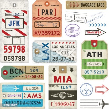 Weathered baggage tags. EPS 10 file with transparencies.File is layered with global colors.High res jpeg included.More works like this linked below.