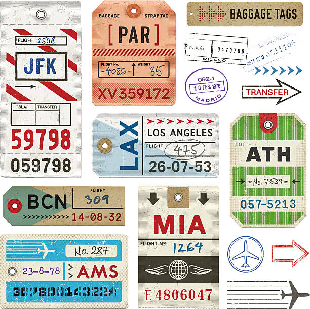 Baggage Tags and Stamps Weathered baggage tags. EPS 10 file with transparencies.File is layered with global colors.High res jpeg included.More works like this linked below. airplane ticket stock illustrations