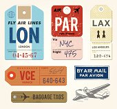 Vintage Luggage Tags and Stamps. AI EPS 10.