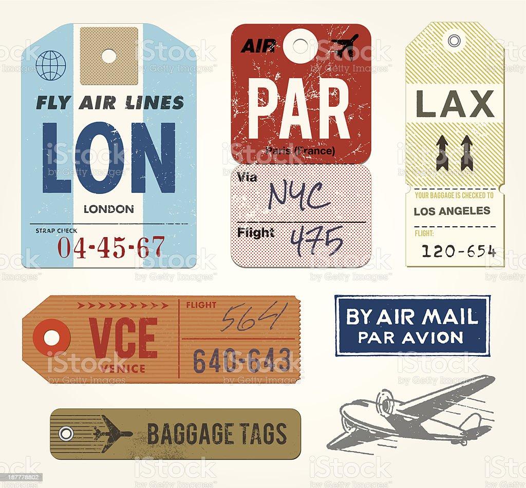 Gepäck-Etiketten und Briefmarken – Vektorgrafik