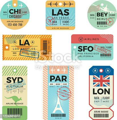Baggage tags. Retro tickets for travellers luggage airplane stickers with stamps vector design templates. Tag luggage, trip passenger badge, destination traveller cardboard illustration