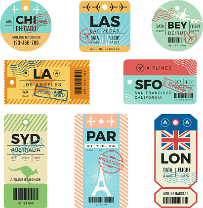 Baggage tags. Retro tickets for travellers luggage airplane stickers with stamps vector design templates