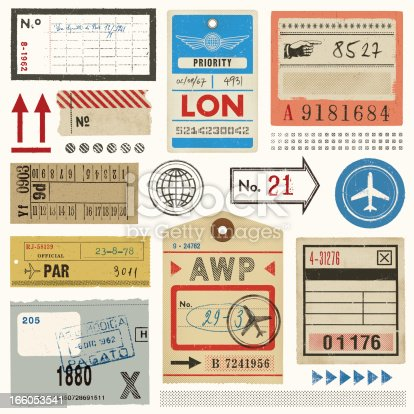 istock Baggage Tags,Tickets and Stamps 166053541