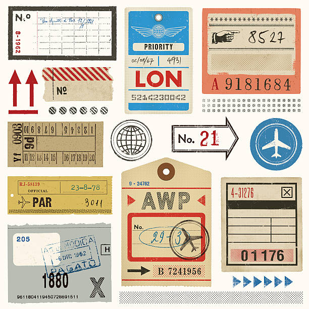Baggage Tags,Tickets and Stamps Weathered vintage design elements. EPS 10 file with transparencies.File is layered with global colors.High res jpeg included.More works like this linked below. airplane ticket stock illustrations