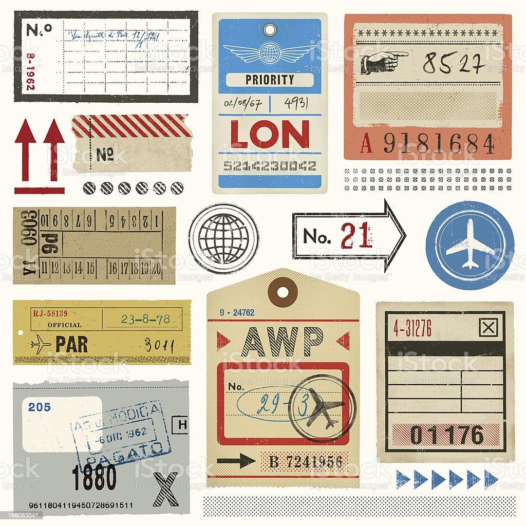 Étiquettes à bagages, billets et timbres - Illustration vectorielle