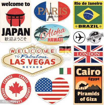 Vector vintage travel stickers. High res jpeg included