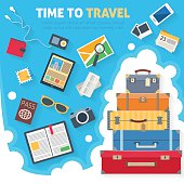 Baggage with travel icons and objects