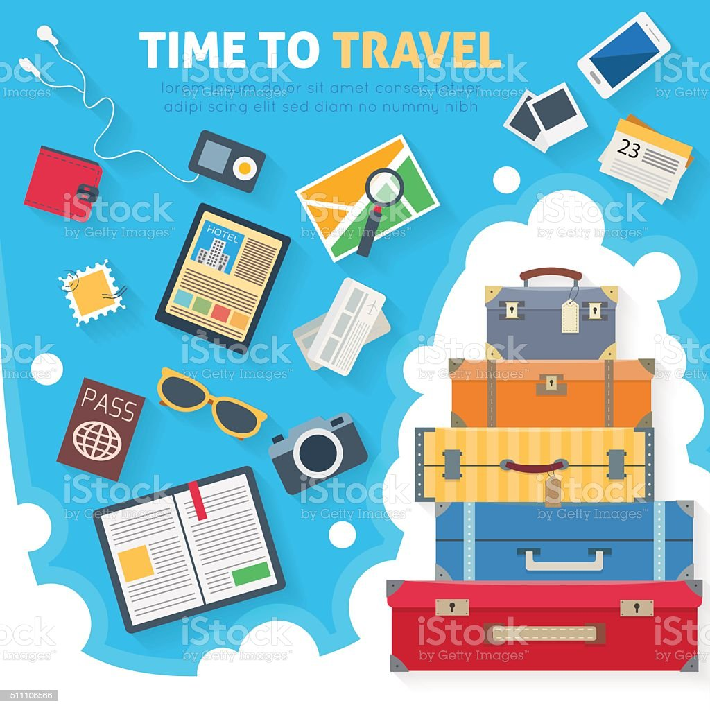 Baggage with travel icons and objects vector art illustration