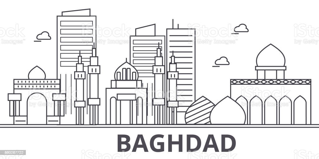 Baghdad architecture line skyline illustration. Linear vector cityscape with famous landmarks, city sights, design icons. Landscape wtih editable strokes vector art illustration