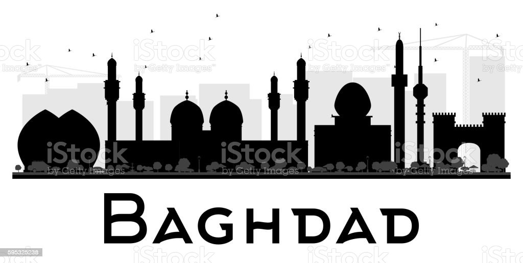 Baghdad City skyline black and white silhouette. vector art illustration