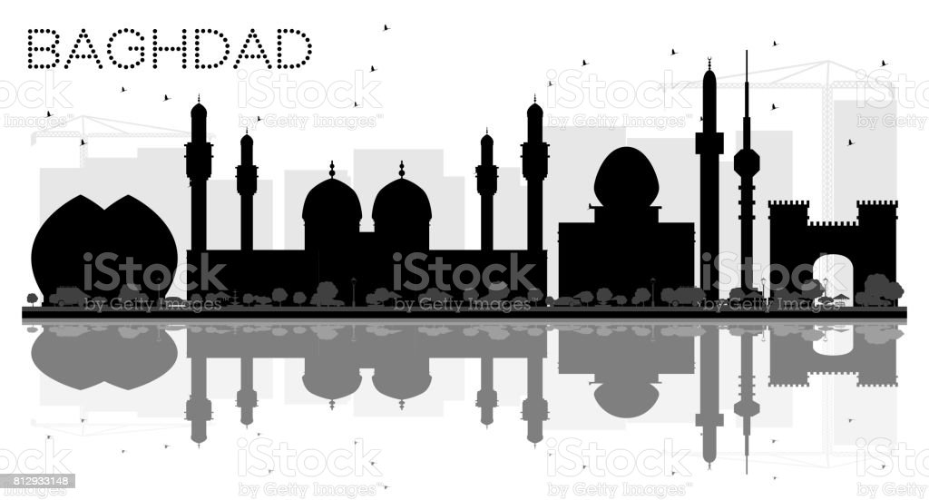 Baghdad City skyline black and white silhouette with reflections. vector art illustration