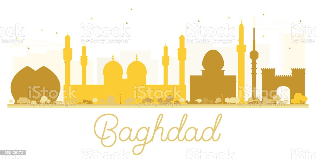 Baghdad City skyline golden silhouette. vector art illustration