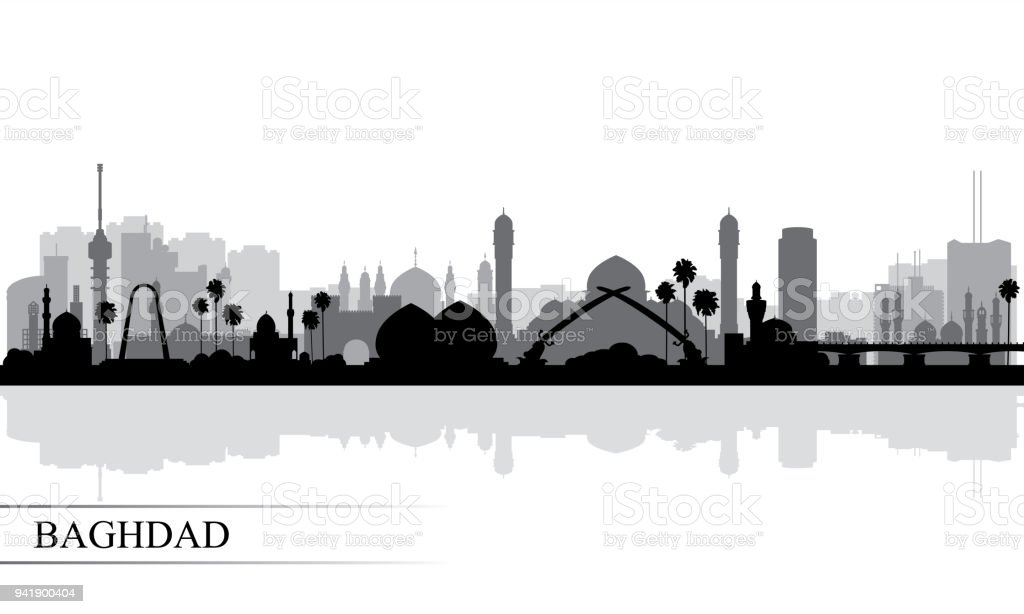 Baghdad city skyline silhouette background vector art illustration