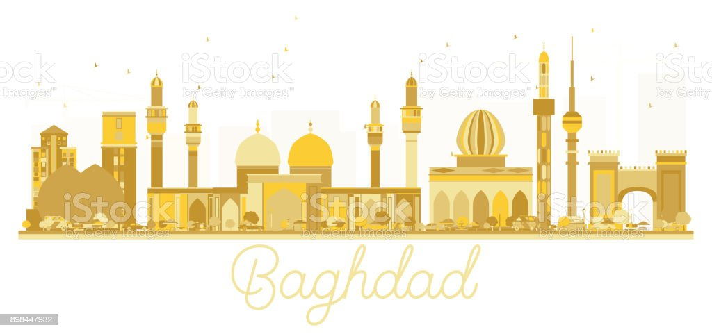 Baghdad Iraq City skyline golden silhouette. vector art illustration