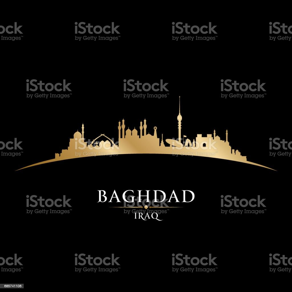 Baghdad Iraq city skyline silhouette vector art illustration
