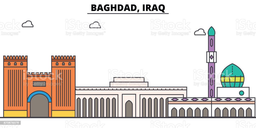 Baghdad, Iraq outline skyline, arab flat thin line icons, landmarks, illustrations. Baghdad, Iraq cityscape, arab travel city vector banner. Urban silhouette vector art illustration