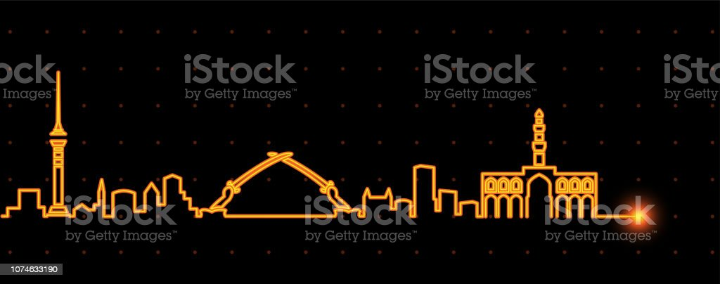 Baghdad Light Streak Skyline vector art illustration