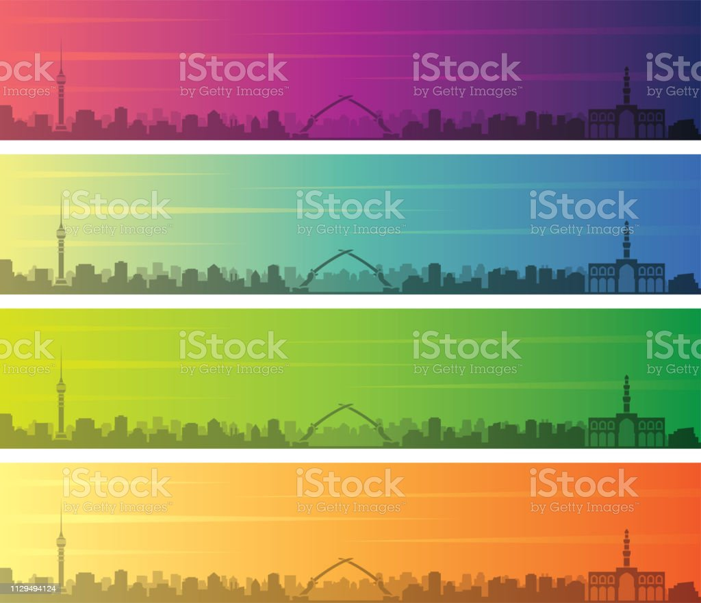 Baghdad Multiple Color Gradient Skyline Banner vector art illustration