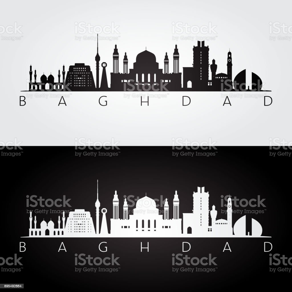 Baghdad skyline and landmarks silhouette, black and white design, vector illustration. vector art illustration