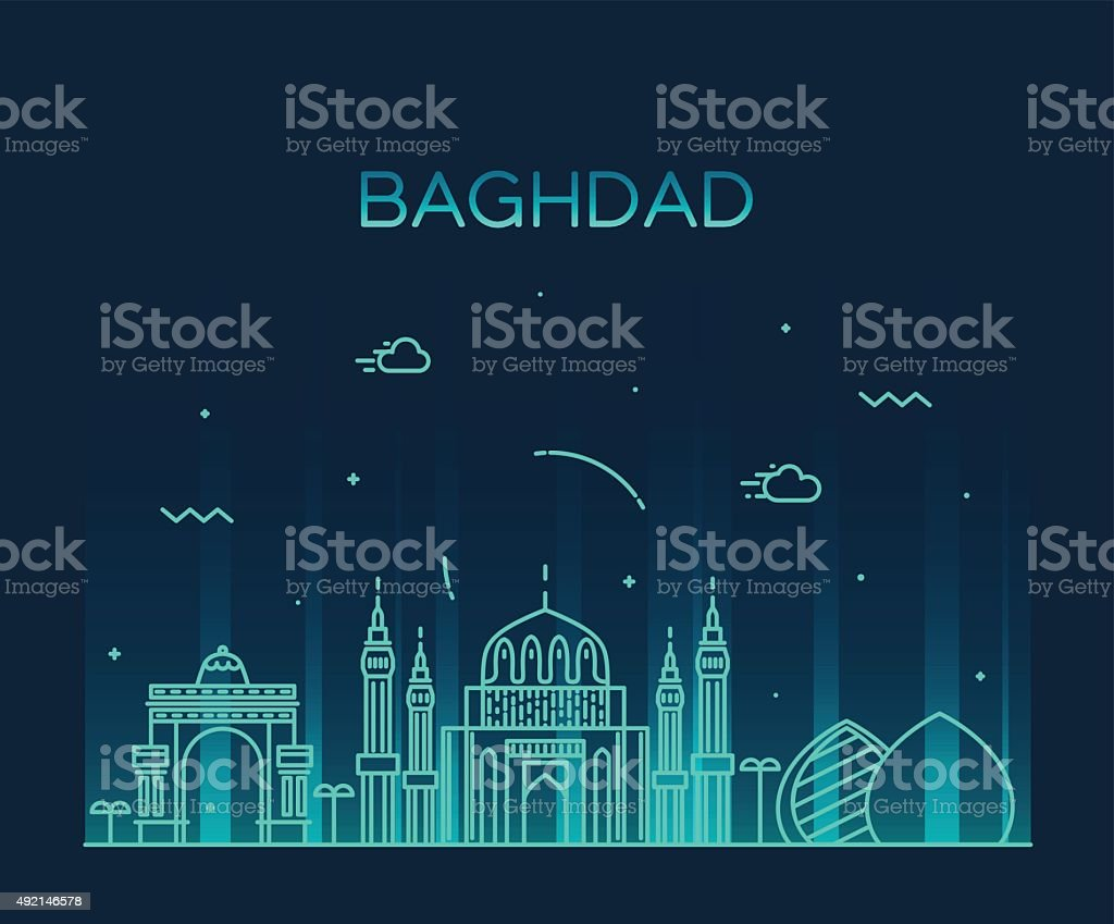 Baghdad skyline vector illustration linear style vector art illustration