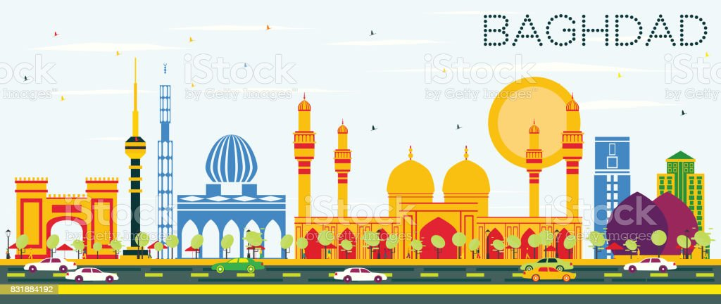 Baghdad Skyline with Color Buildings and Blue Sky. vector art illustration