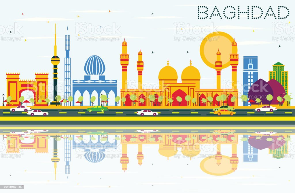 Baghdad Skyline with Color Buildings, Blue Sky and Reflections. vector art illustration