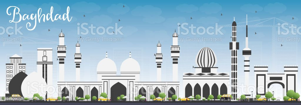 Baghdad Skyline with Gray Buildings and Blue Sky. vector art illustration