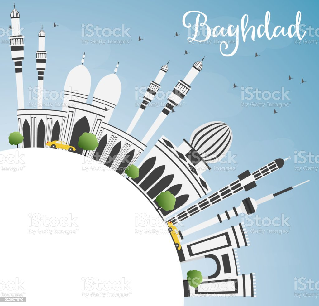 Baghdad Skyline with Gray Buildings, Blue Sky and Copy Space. vector art illustration