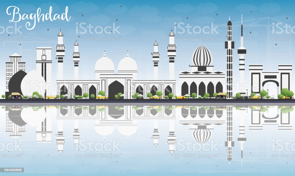 Baghdad Skyline with Gray Buildings, Blue Sky and Reflections. vector art illustration