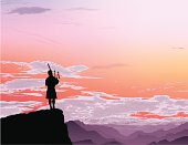 Piper overlooking mountain range.  This file is layered and grouped, ready for editing.