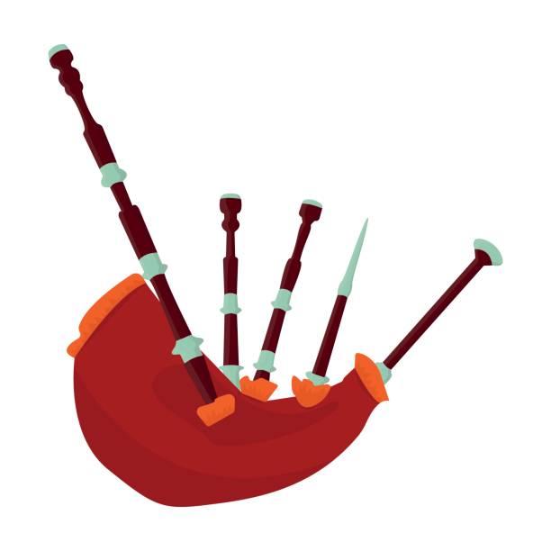 Dudelsäcke aus einer Kuh Bauch. Das nationale Musikinstrument von Scotland.The Symbol Scotland.Scotland einzelnes Symbol im Cartoon Stil Symbol Lager Vektorgrafik. – Vektorgrafik