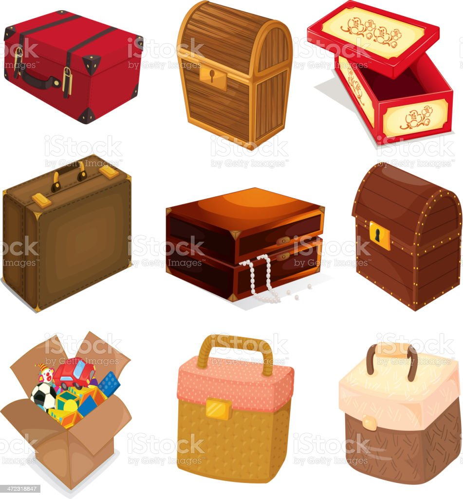 Bags and boxes royalty-free stock vector art