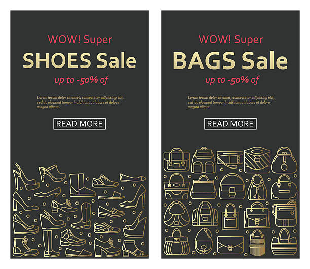 bags and shoes sale banners made of outlined icons - lederranzen stock-grafiken, -clipart, -cartoons und -symbole