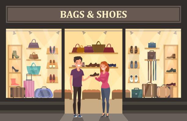 ilustrações, clipart, desenhos animados e ícones de loja de bolsas e sapatos com vitrine de vidro. - shopping