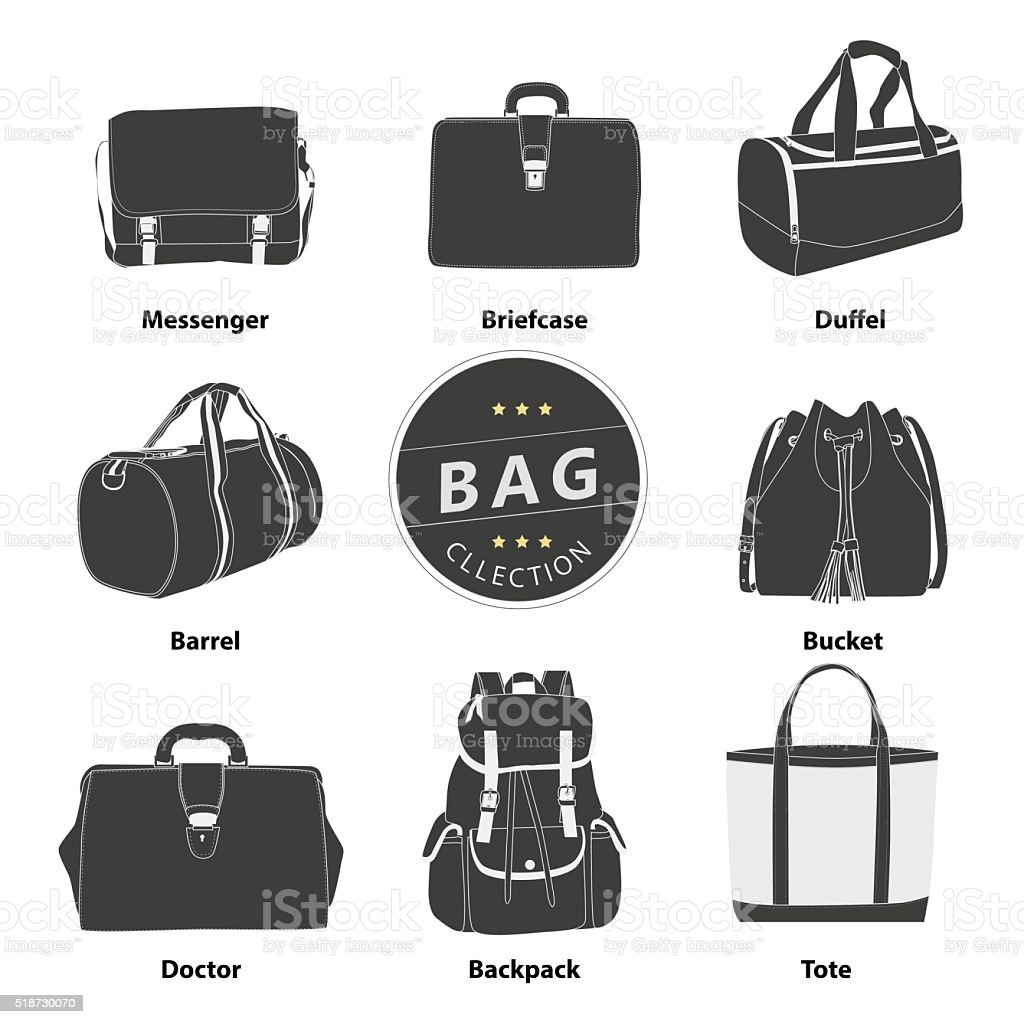 Bags collection set vector art illustration