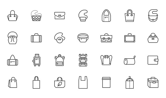 Bags line icon set. Purse types - tote, briefcase, fanny pack, shopper, luggage, plastic bag minimal vector illustrations. Simple outline signs for fashion app. Pixel Perfect. Editable Strokes.