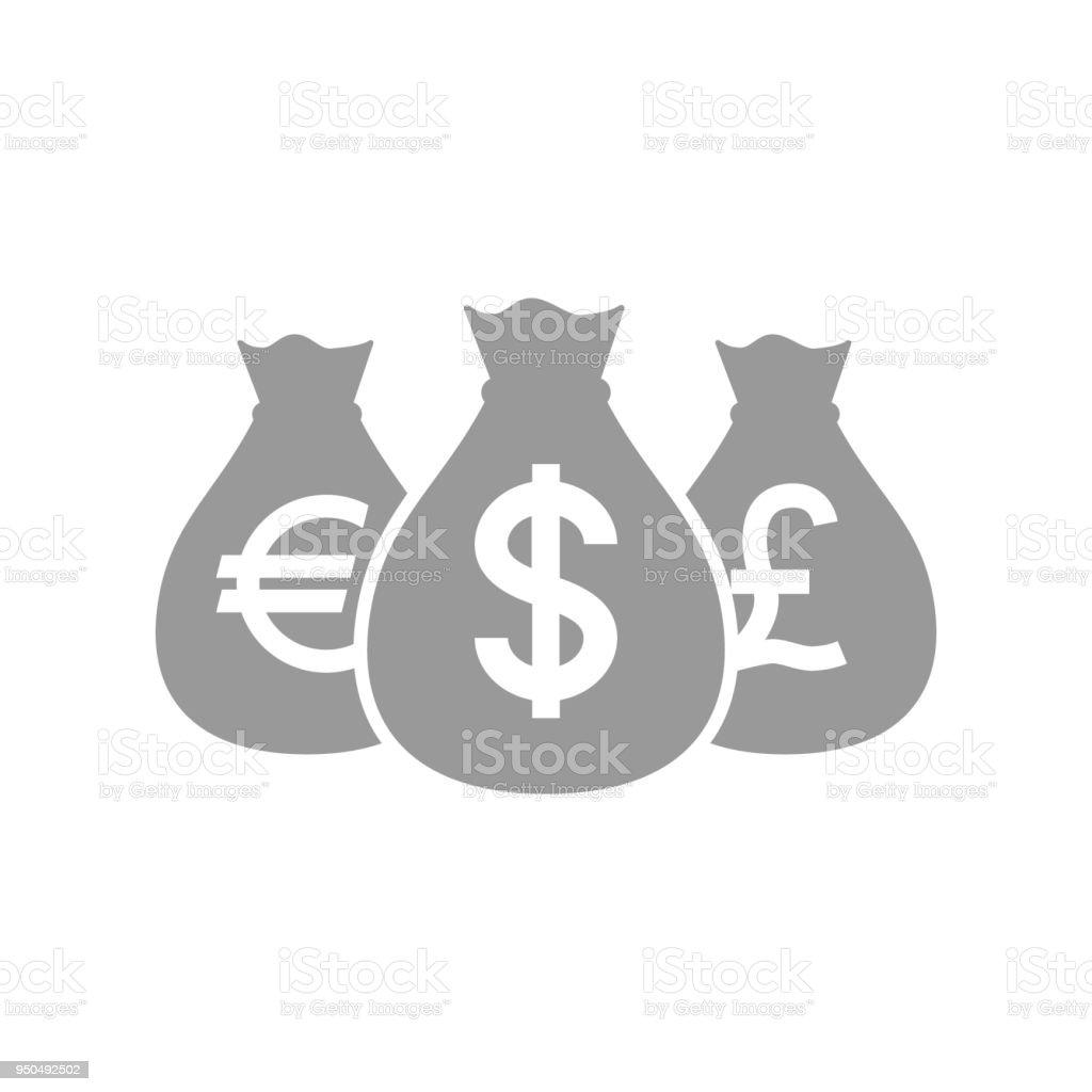 Sacs Du Dollar Icone De Pictogramme Argent Livre Et Leuro