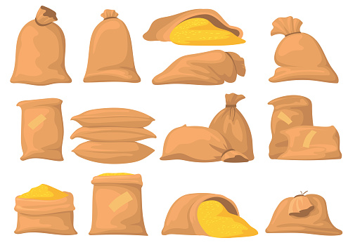 Bags of flour, rice, wheat and sugar vector illustrations set