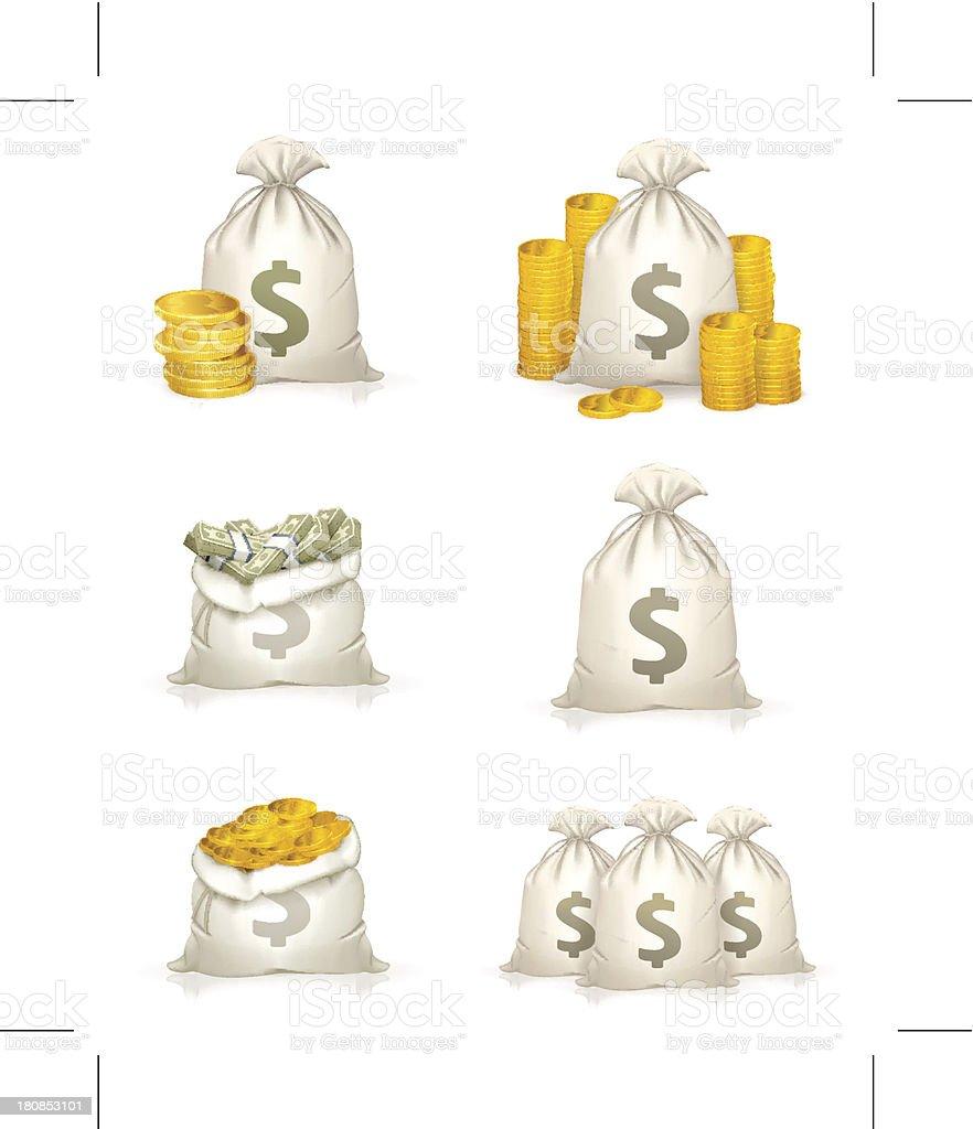 Bags of money, icon set vector art illustration