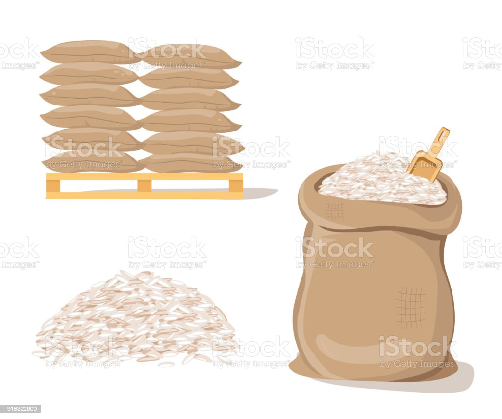 Bags on Pallet. Sack with Pile of  Rice