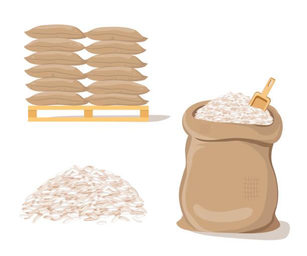 stockillustraties, clipart, cartoons en iconen met zakken op pallet. zak met stapel van rijst - zak tas
