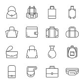 Bags set of vector icons