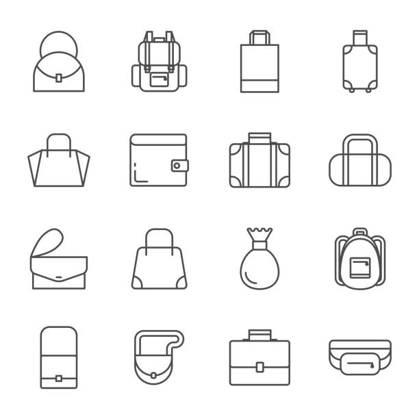 illustrazioni stock, clip art, cartoni animati e icone di tendenza di bags set of vector icons - borsetta