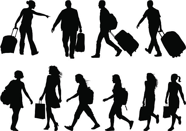 Bags traveling and shopping bags airport silhouettes stock illustrations