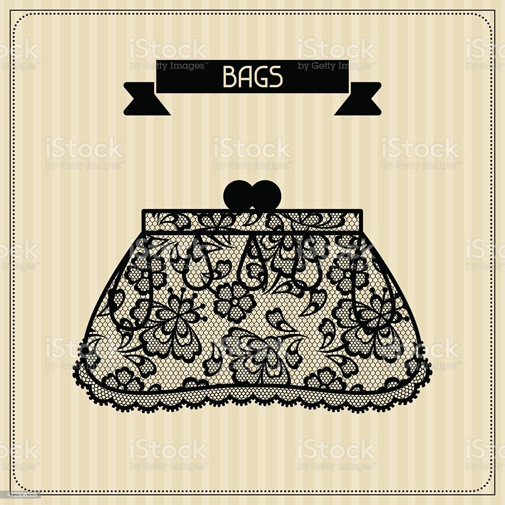 Bags. Vintage lace background, floral ornament. royalty-free stock vector art