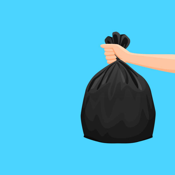 illustrazioni stock, clip art, cartoni animati e icone di tendenza di bags waste, garbage black plastic bag in hand isolated on blue background, bin bag plastic black for disposal garbage, icon bag trash and hand, bags waste full, illustration rubbish junk bag recycle - cucina domestica