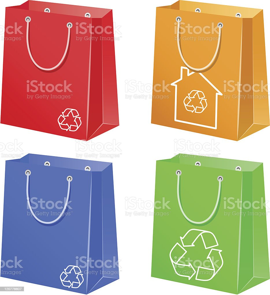 Bags with eco symbol royalty-free stock vector art