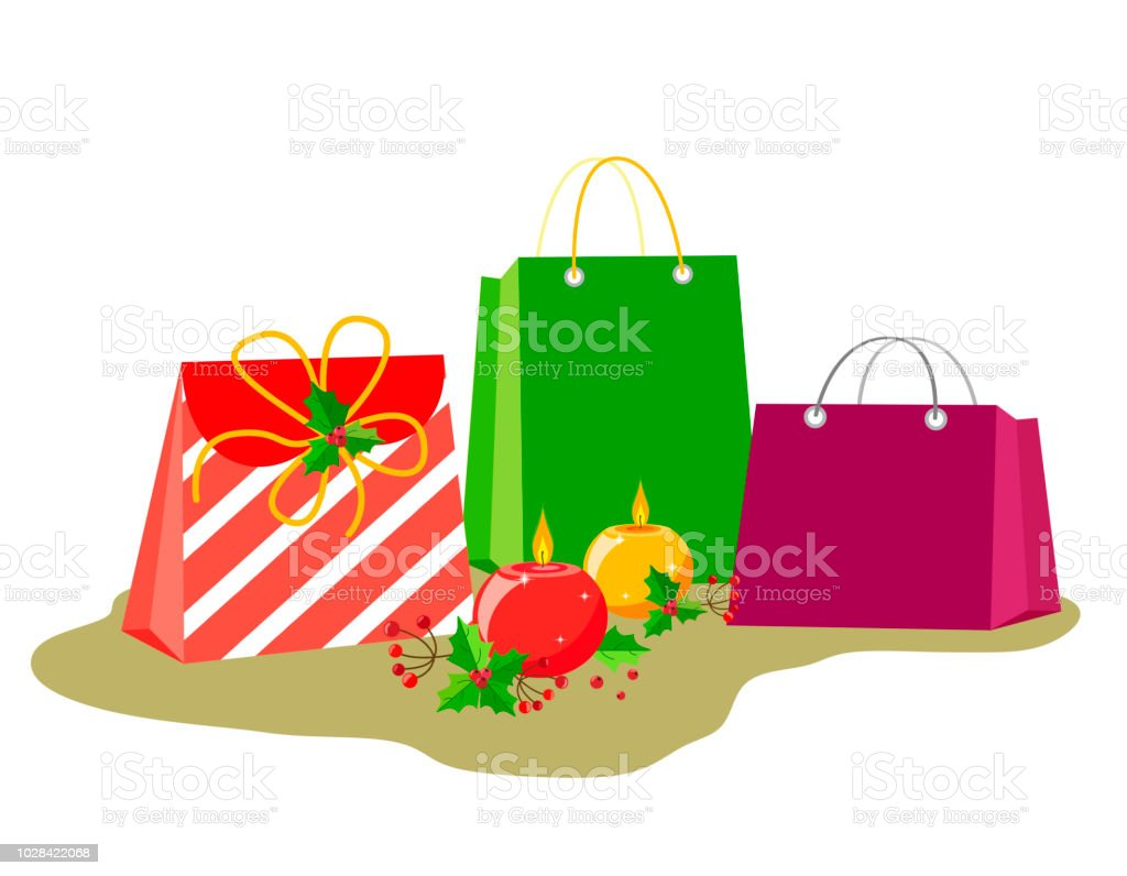 Bags with gifts and decor for christmas or new year holidays round