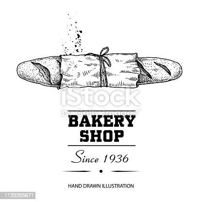 Baguette bread in paper top view sketch drawing. Hand drawn sketch style bakery shop product. Fresh morning baked food vector illustration for menu design, labels and packaging. Isolated on white background.