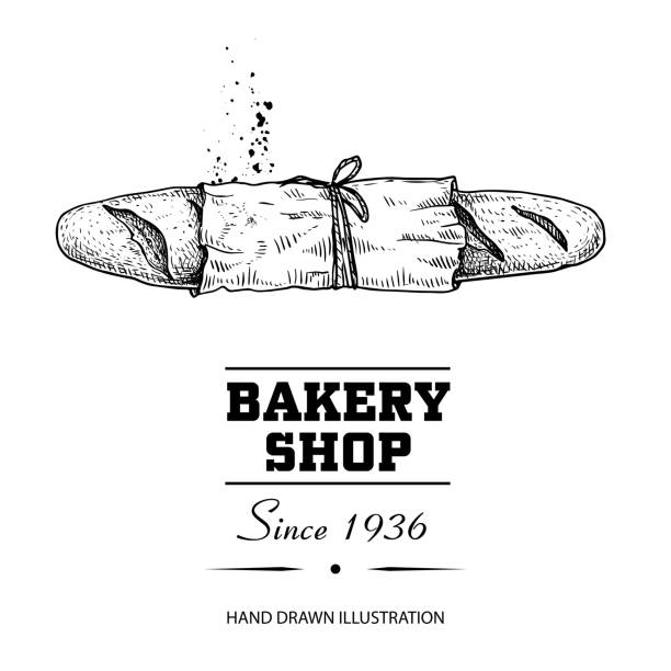 baguette bread in paper top view sketch drawing. hand drawn sketch style bakery shop product. fresh morning baked food vector illustration for menu design, labels and packaging. isolated on white background. - пекарня stock illustrations